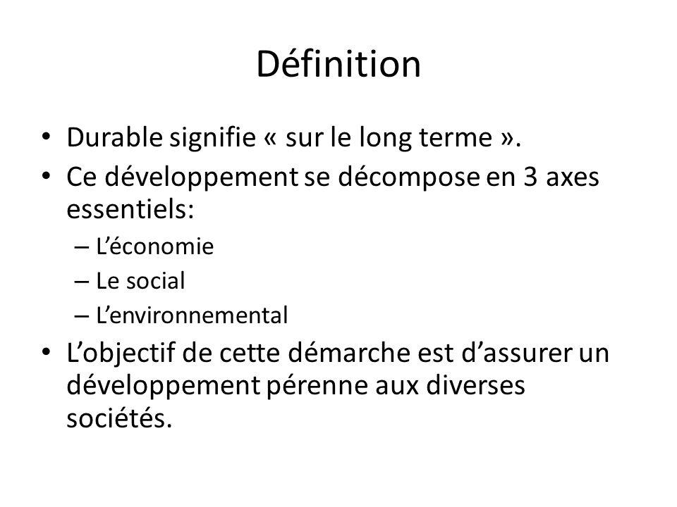 Définition Durable signifie « sur le long terme ».