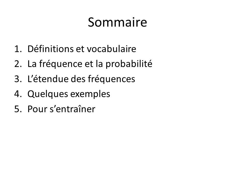 Sommaire Définitions et vocabulaire La fréquence et la probabilité