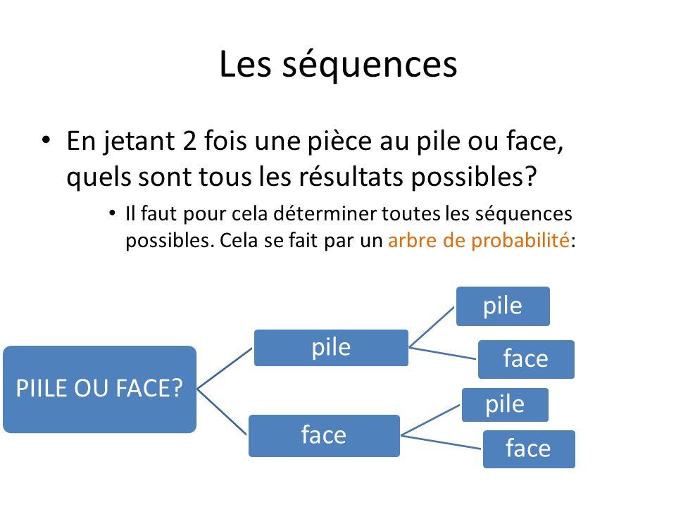 Les séquences En jetant 2 fois une pièce au pile ou face, quels sont tous les résultats possibles