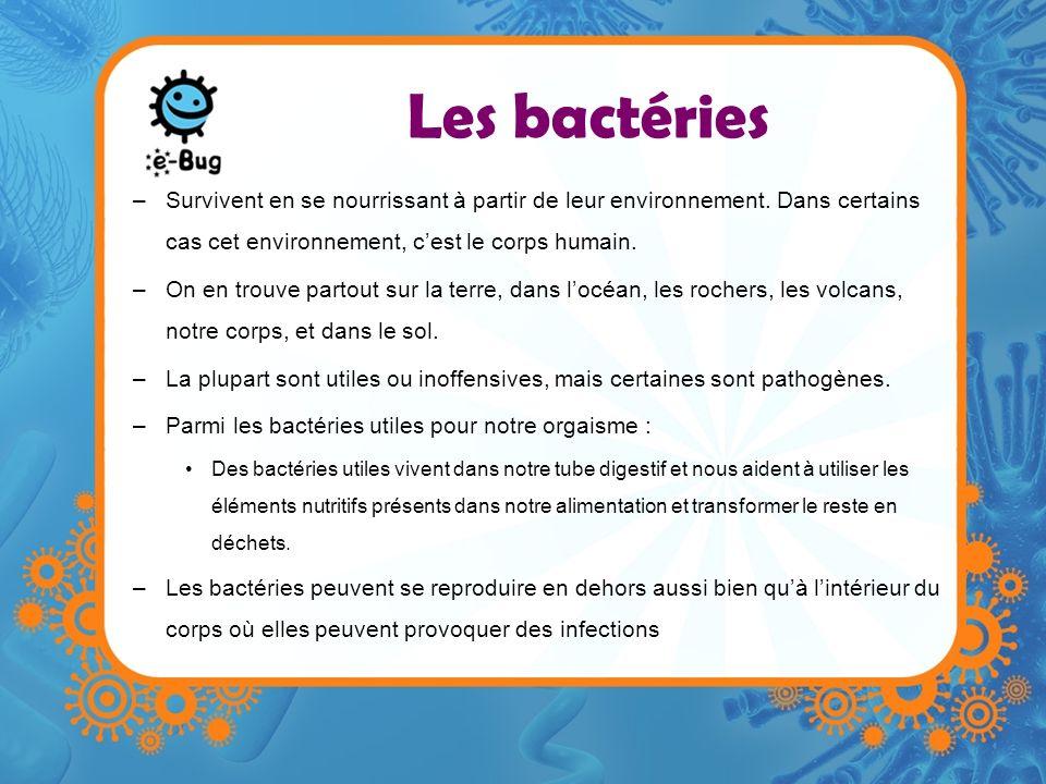 Les bactéries Survivent en se nourrissant à partir de leur environnement. Dans certains cas cet environnement, c'est le corps humain.