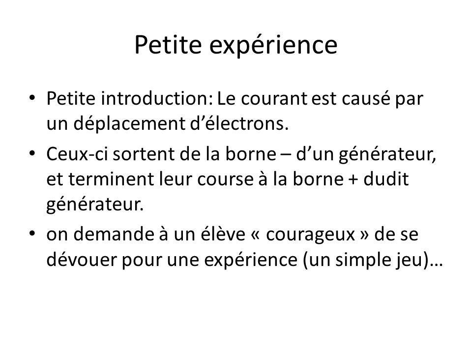 Petite expérience Petite introduction: Le courant est causé par un déplacement d'électrons.