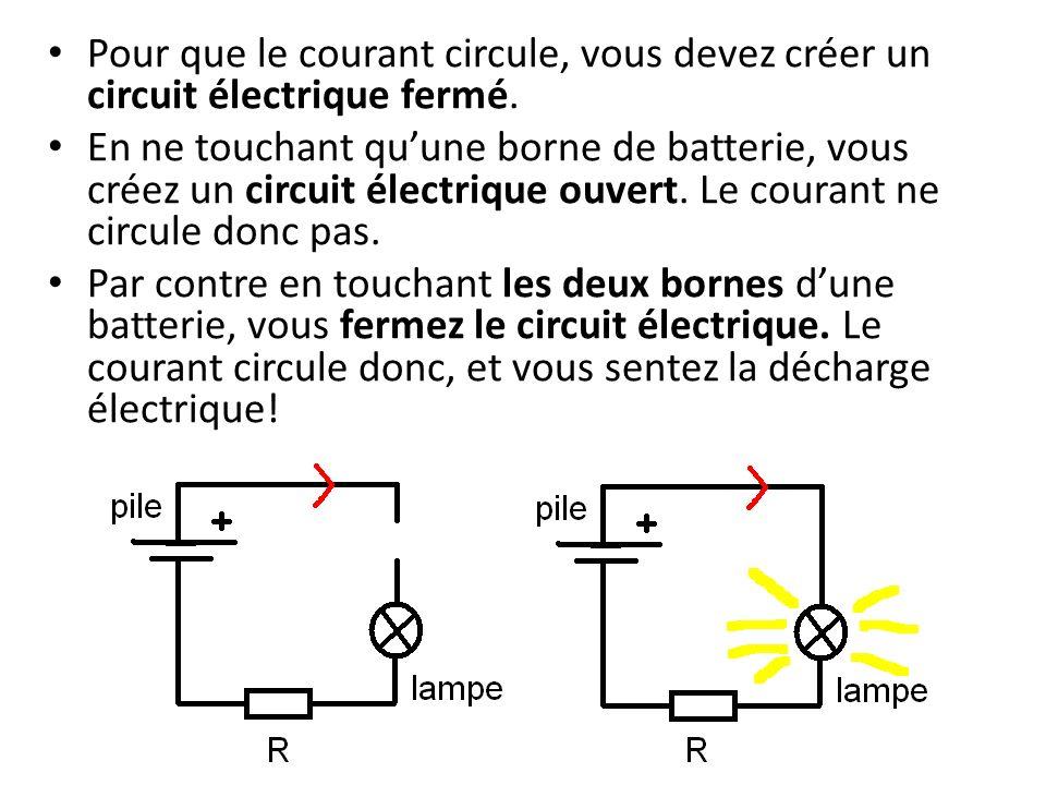 Pour que le courant circule, vous devez créer un circuit électrique fermé.