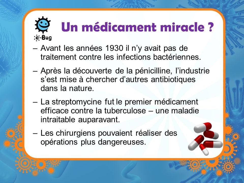 Un médicament miracle Avant les années 1930 il n'y avait pas de traitement contre les infections bactériennes.