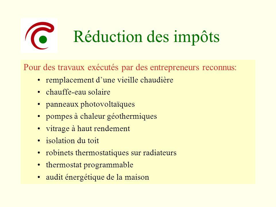 Réduction des impôts Pour des travaux exécutés par des entrepreneurs reconnus: remplacement d'une vieille chaudière.