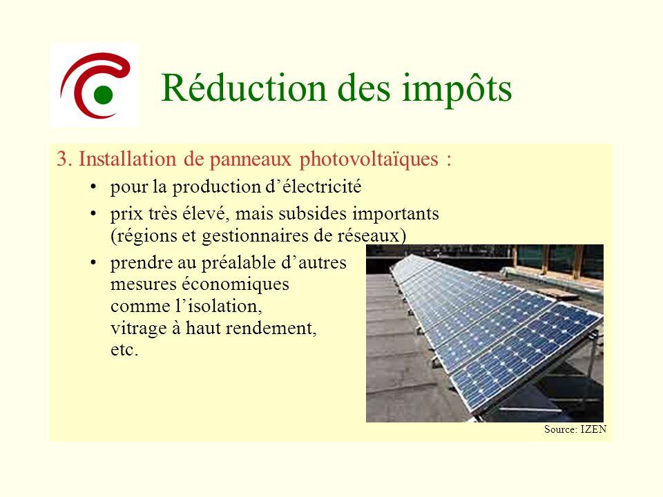 Réduction des impôts 3. Installation de panneaux photovoltaïques :