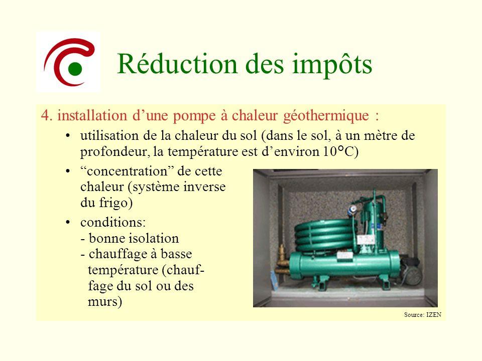 Réduction des impôts 4. installation d'une pompe à chaleur géothermique :