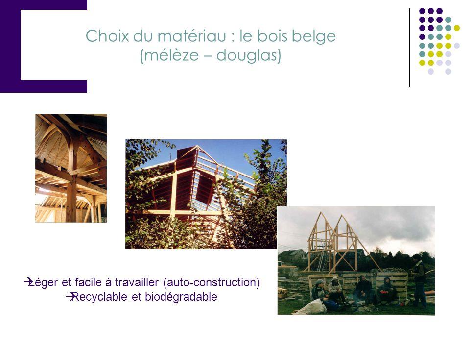 Choix du matériau : le bois belge (mélèze – douglas)