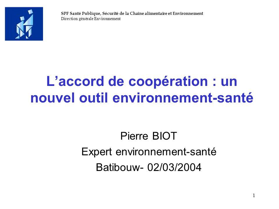 L'accord de coopération : un nouvel outil environnement-santé