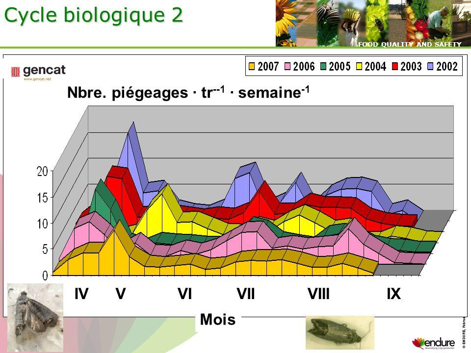 Cycle biologique 2 Nbre. piégeages · tr--1 · semaine-1 IV V VI VII