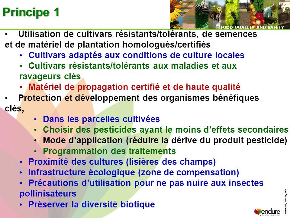 Principe 1 Utilisation de cultivars résistants/tolérants, de semences