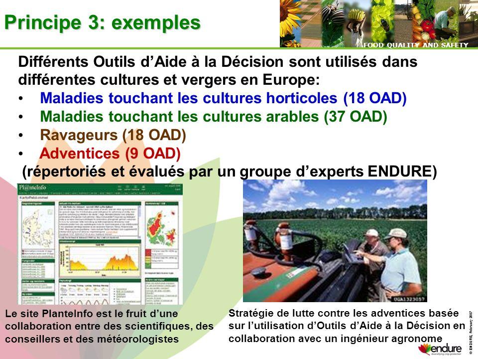 Principe 3: exemples Différents Outils d'Aide à la Décision sont utilisés dans différentes cultures et vergers en Europe: