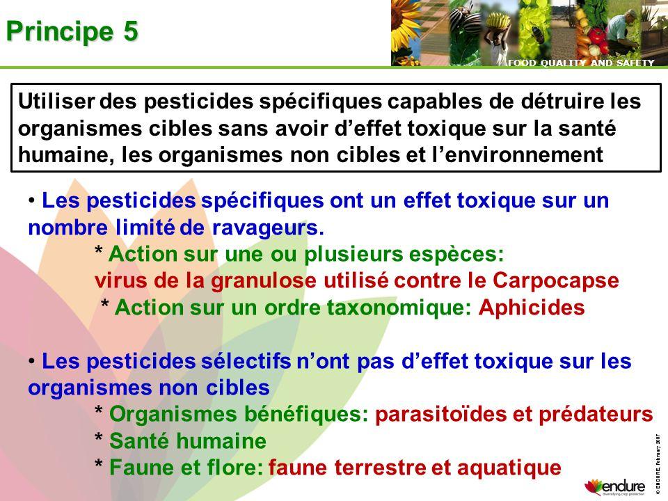 Principe 5Utiliser des pesticides spécifiques capables de détruire les. organismes cibles sans avoir d'effet toxique sur la santé.