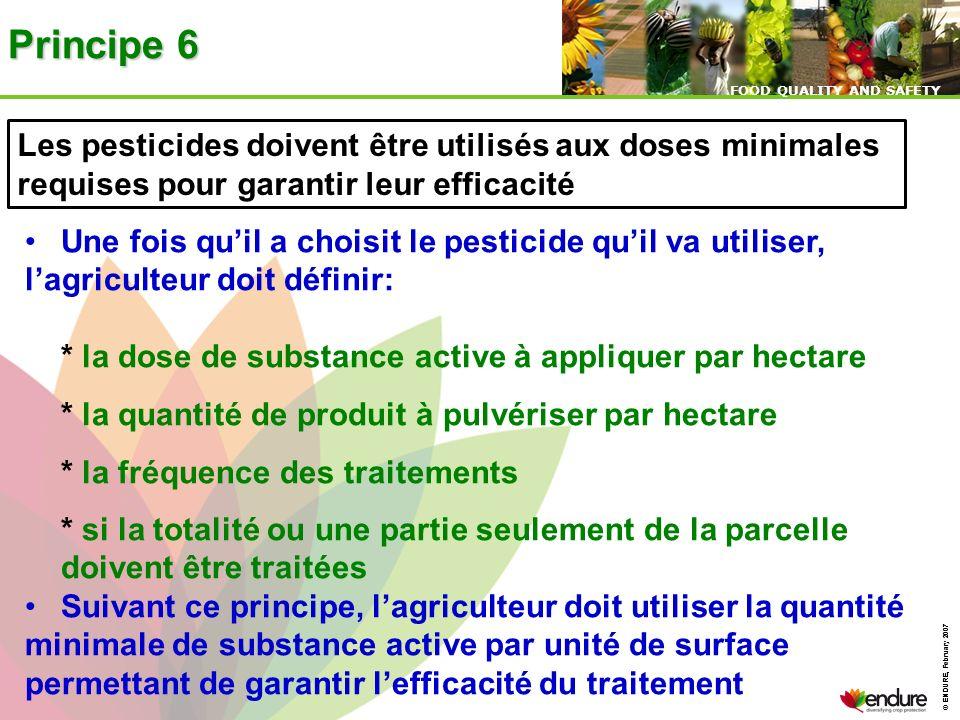 Principe 6 Les pesticides doivent être utilisés aux doses minimales