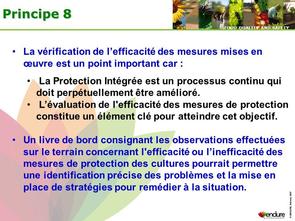 Principe 8La vérification de l'efficacité des mesures mises en œuvre est un point important car :