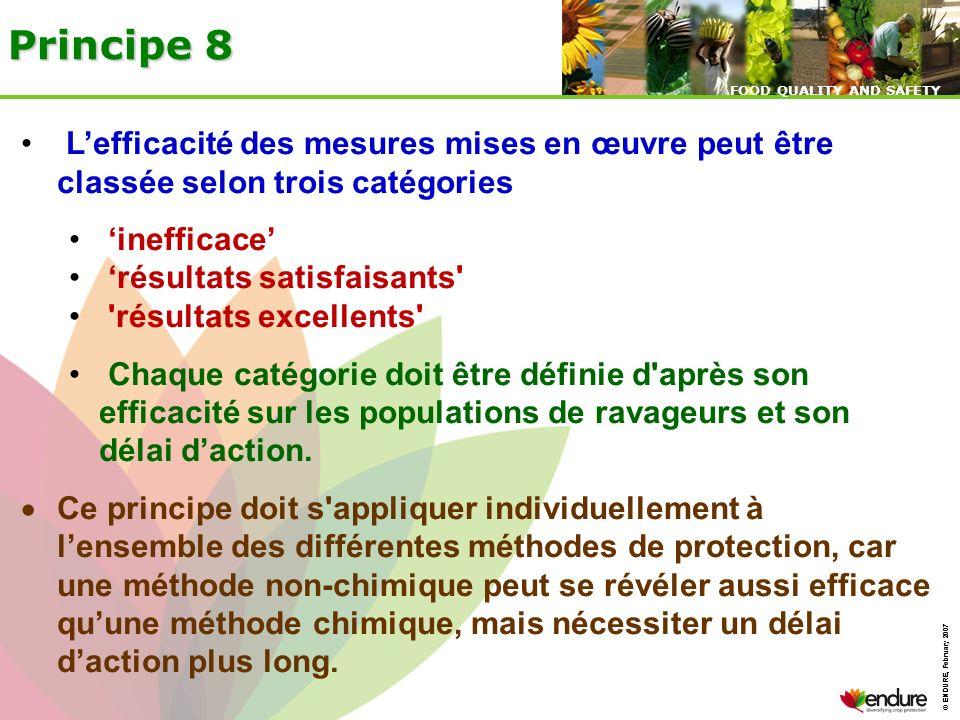Principe 8 L'efficacité des mesures mises en œuvre peut être classée selon trois catégories. 'inefficace'