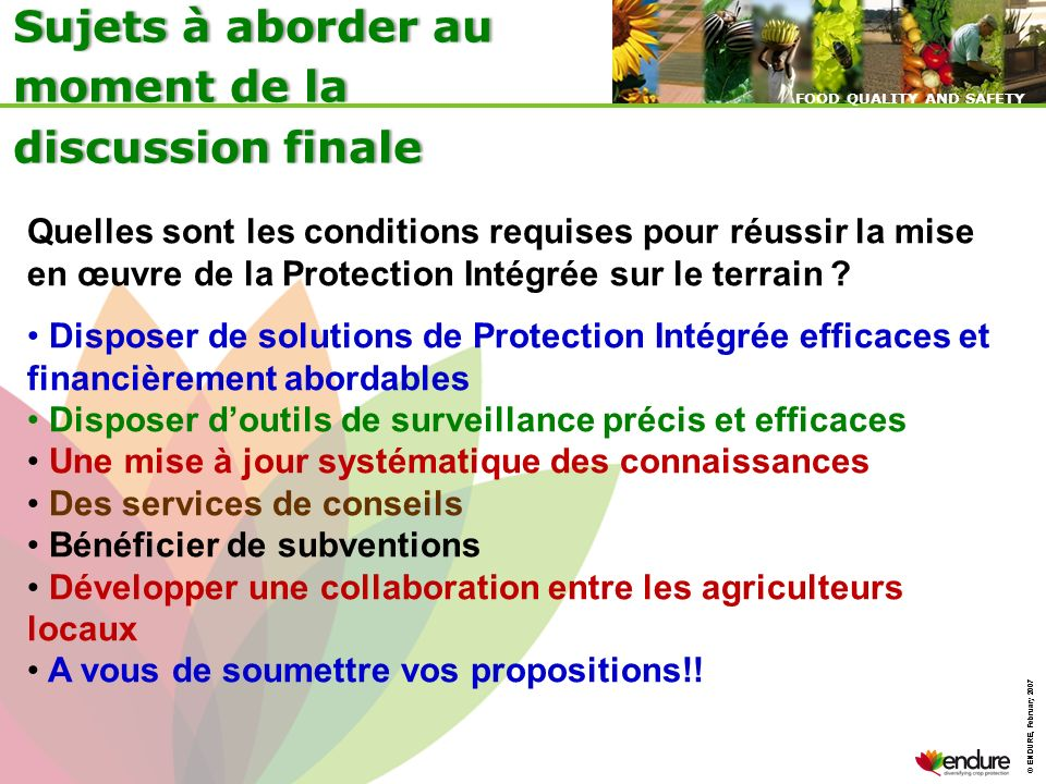 Sujets à aborder au moment de la discussion finale