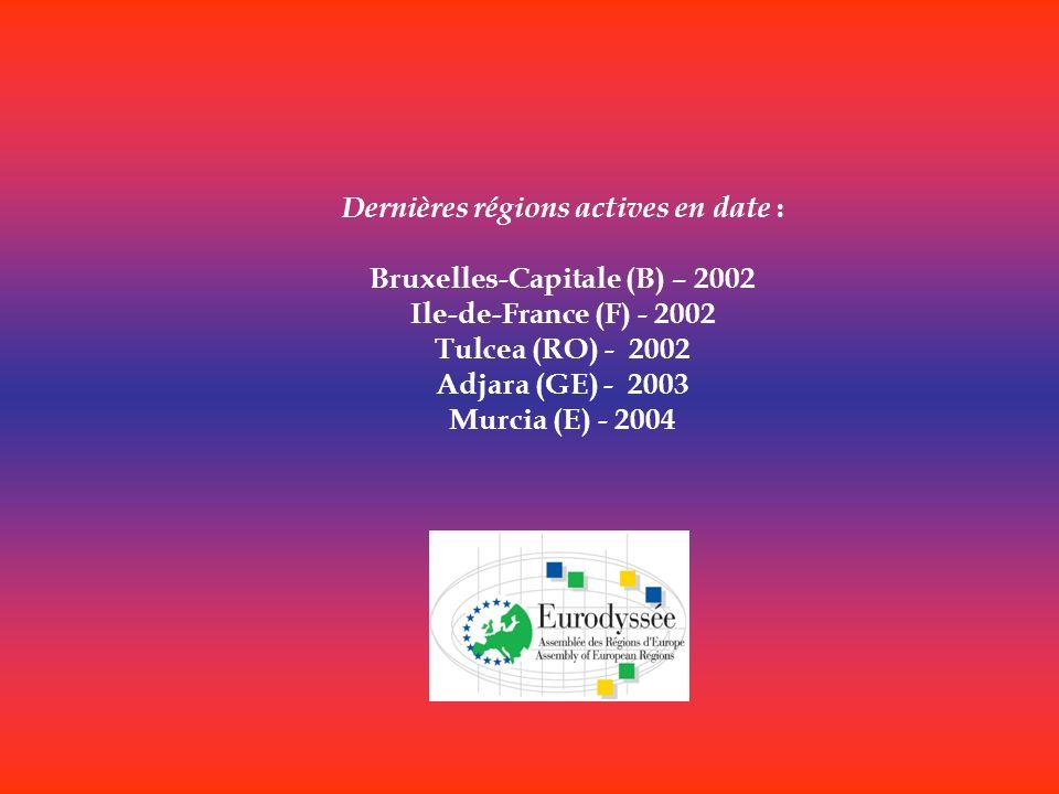 Dernières régions actives en date : Bruxelles-Capitale (B) – 2002
