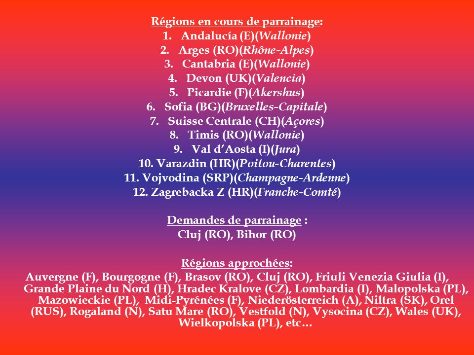 Régions en cours de parrainage: Andalucía (E)(Wallonie)