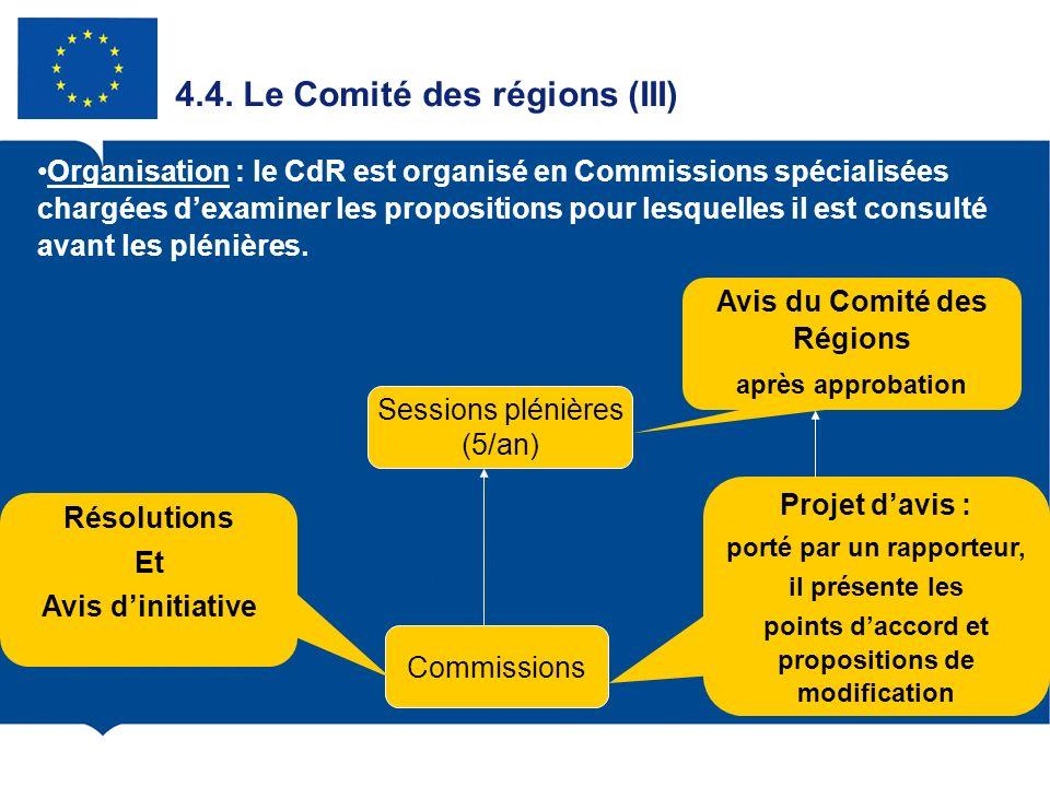 4.4. Le Comité des régions (III)