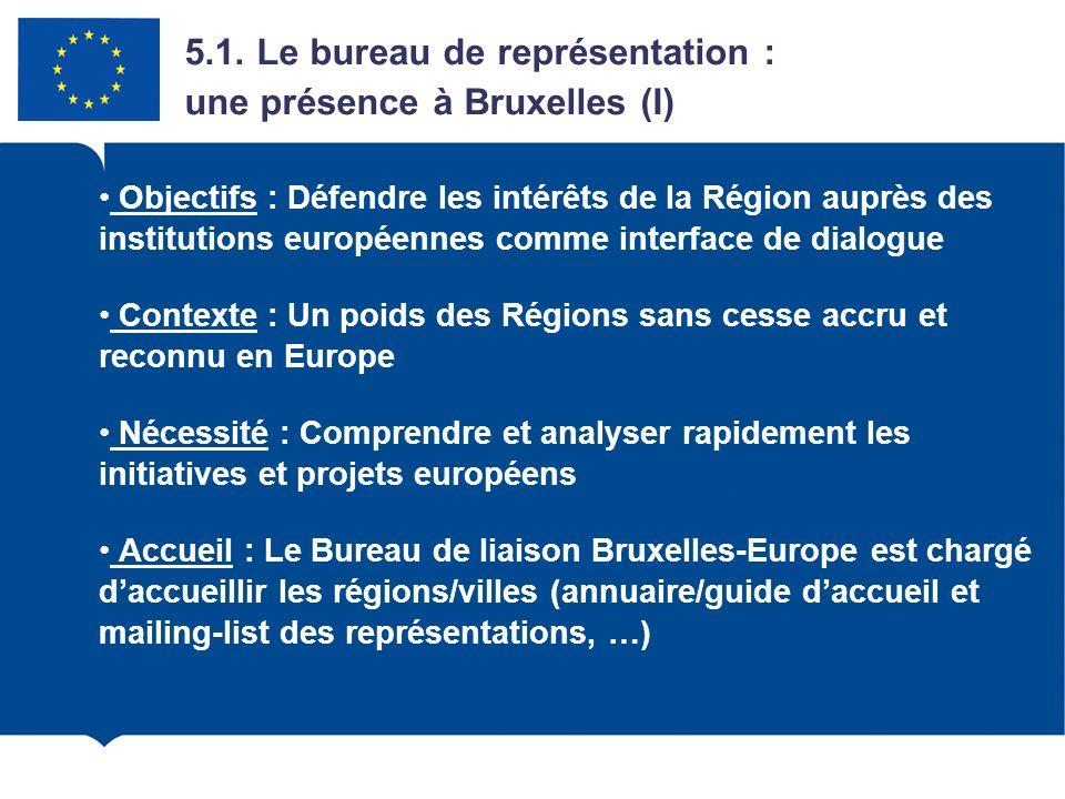 5.1. Le bureau de représentation : une présence à Bruxelles (I)