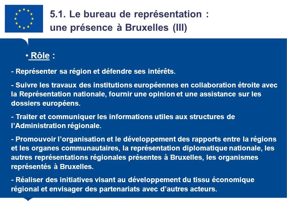 4.1. Le bureau de représentation : une présence à Bruxelles (III)