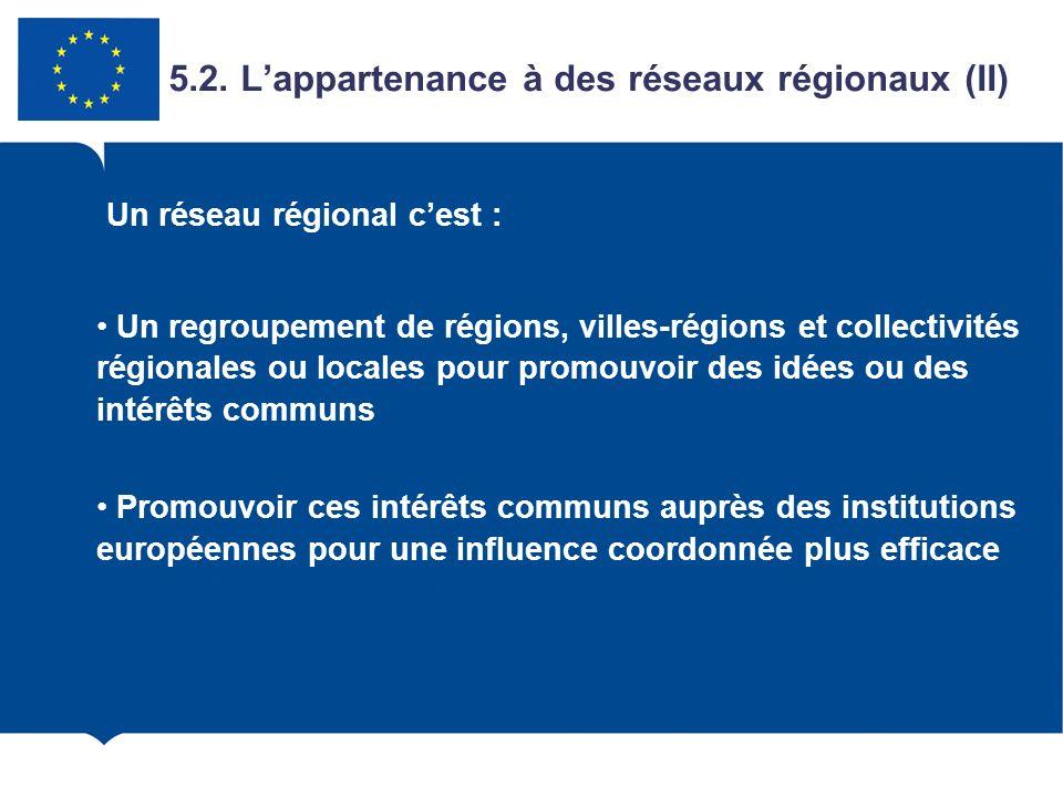 5.2. L'appartenance à des réseaux régionaux (II)