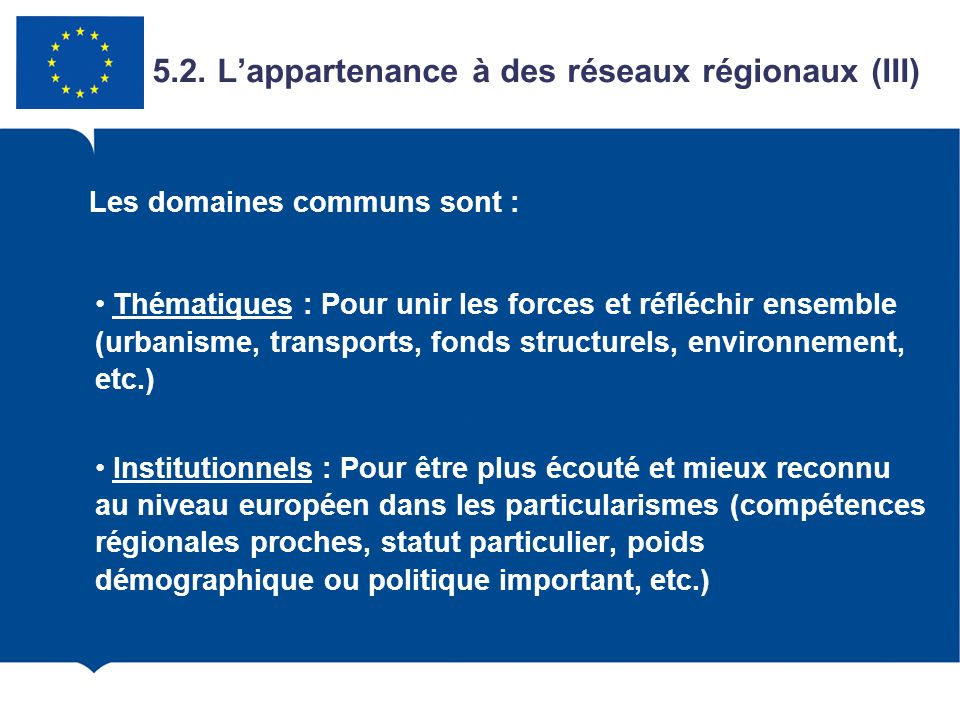 5.2. L'appartenance à des réseaux régionaux (III)