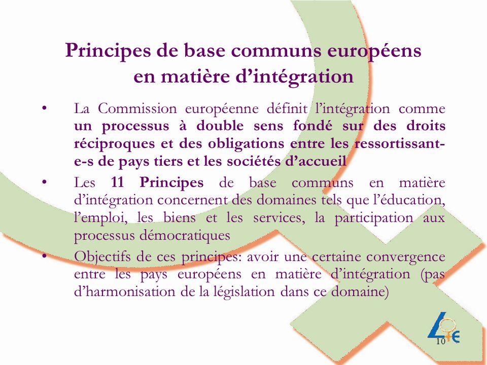 Principes de base communs européens en matière d'intégration