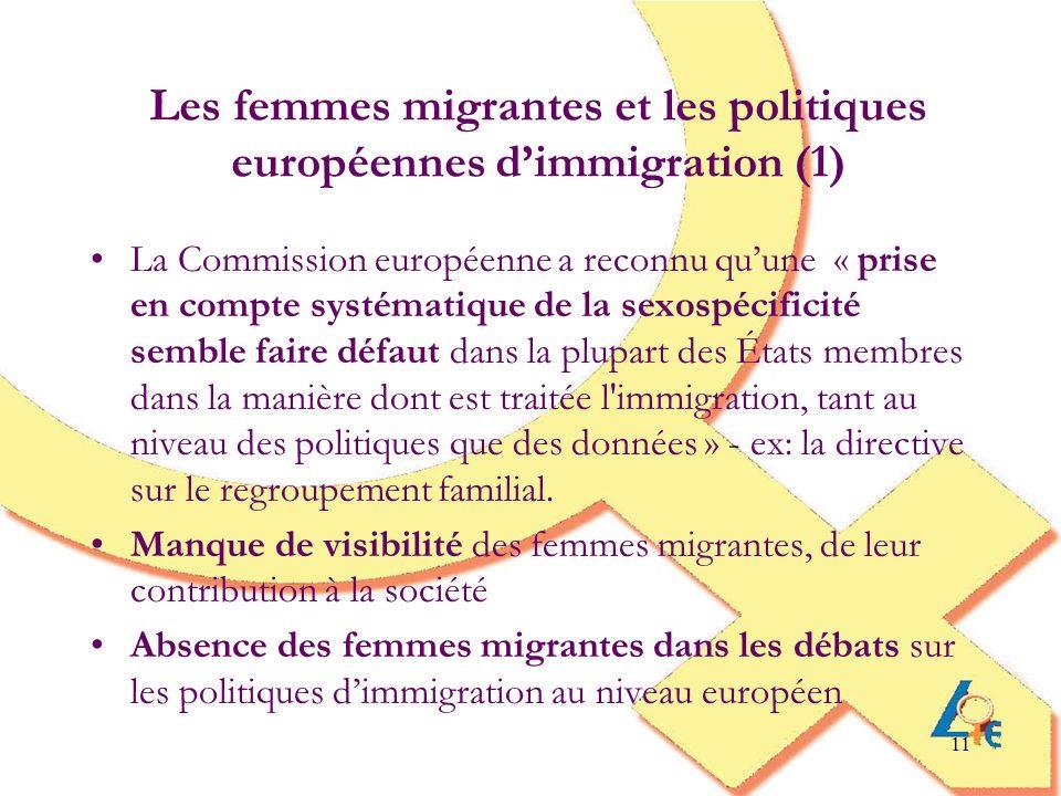 Les femmes migrantes et les politiques européennes d'immigration (1)