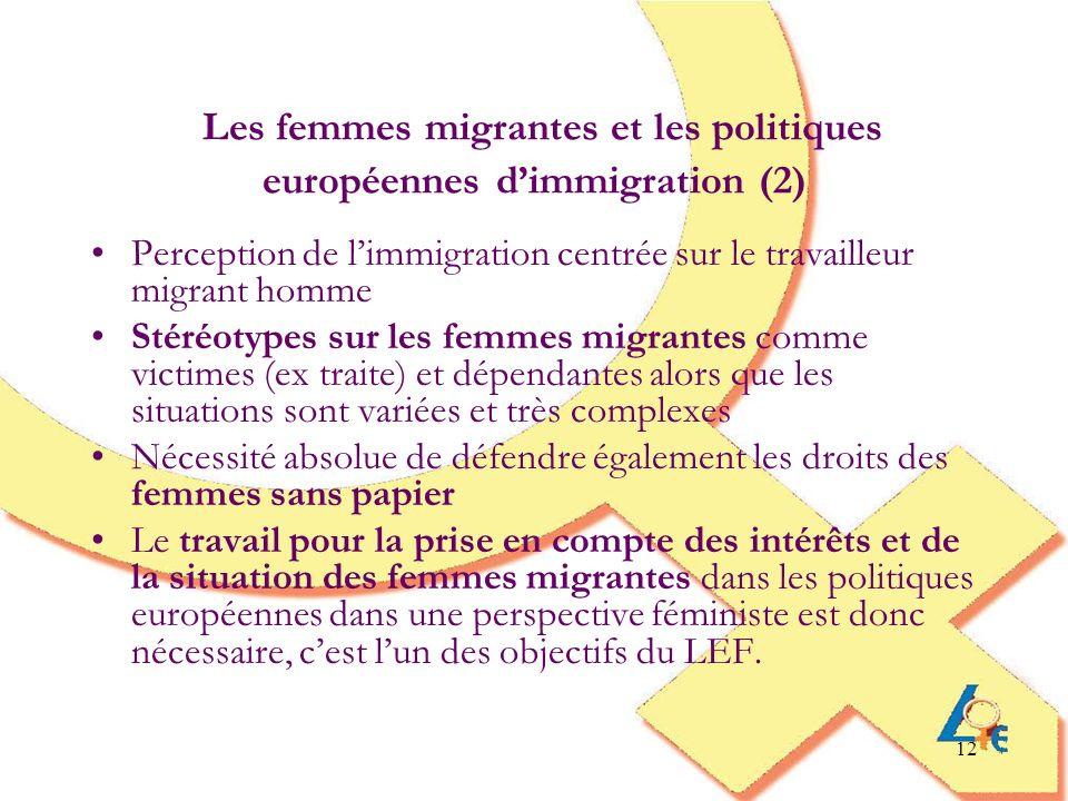 Les femmes migrantes et les politiques européennes d'immigration (2)