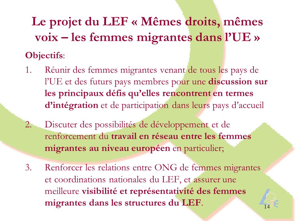 Le projet du LEF « Mêmes droits, mêmes voix – les femmes migrantes dans l'UE »