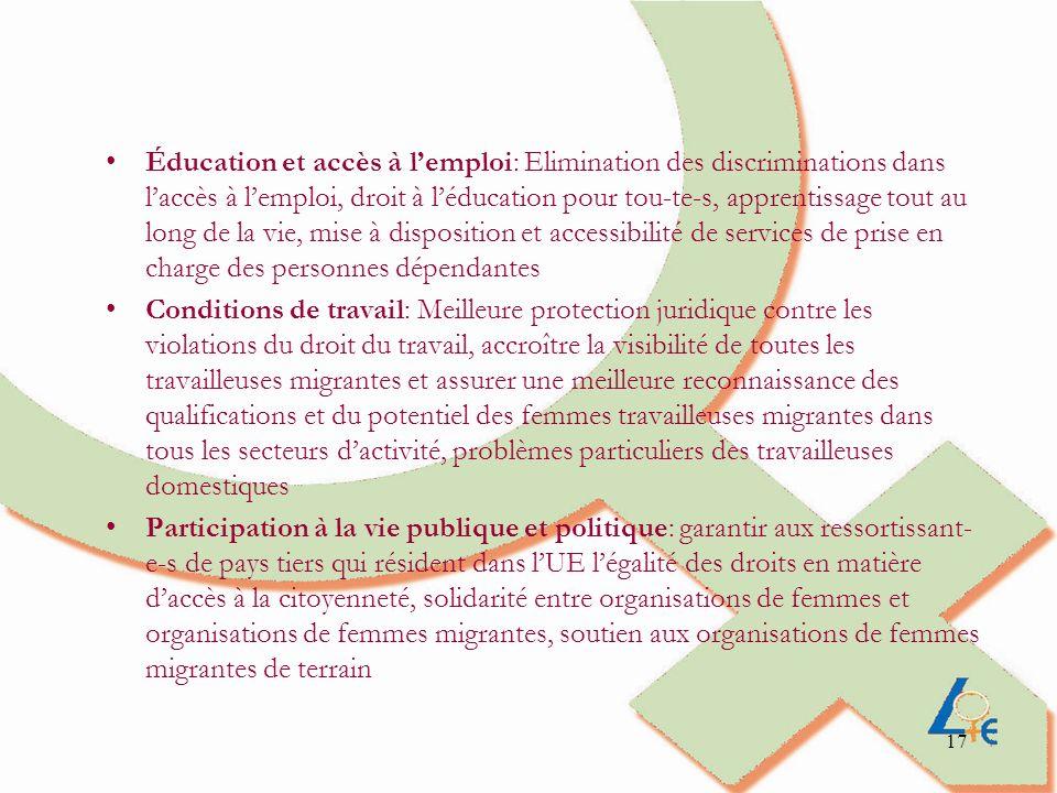Éducation et accès à l'emploi: Elimination des discriminations dans l'accès à l'emploi, droit à l'éducation pour tou-te-s, apprentissage tout au long de la vie, mise à disposition et accessibilité de services de prise en charge des personnes dépendantes