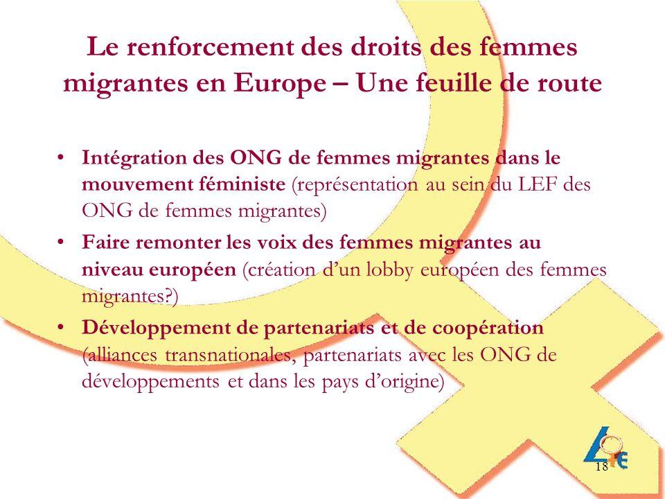 Le renforcement des droits des femmes migrantes en Europe – Une feuille de route