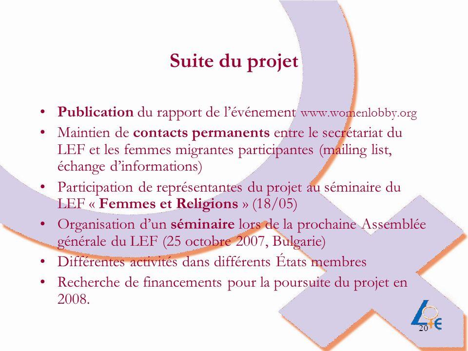 Suite du projet Publication du rapport de l'événement www.womenlobby.org.