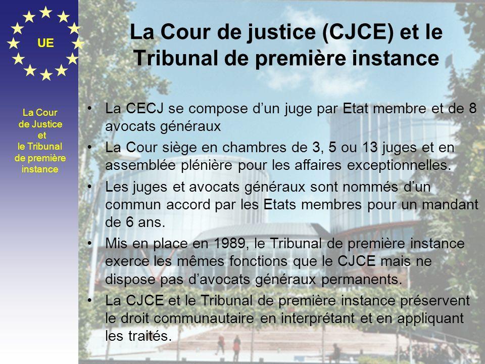 La Cour de justice (CJCE) et le Tribunal de première instance