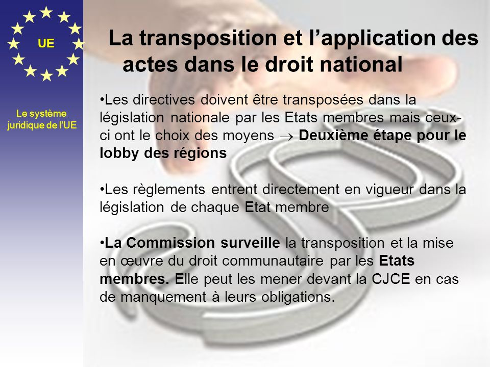La transposition et l'application des actes dans le droit national