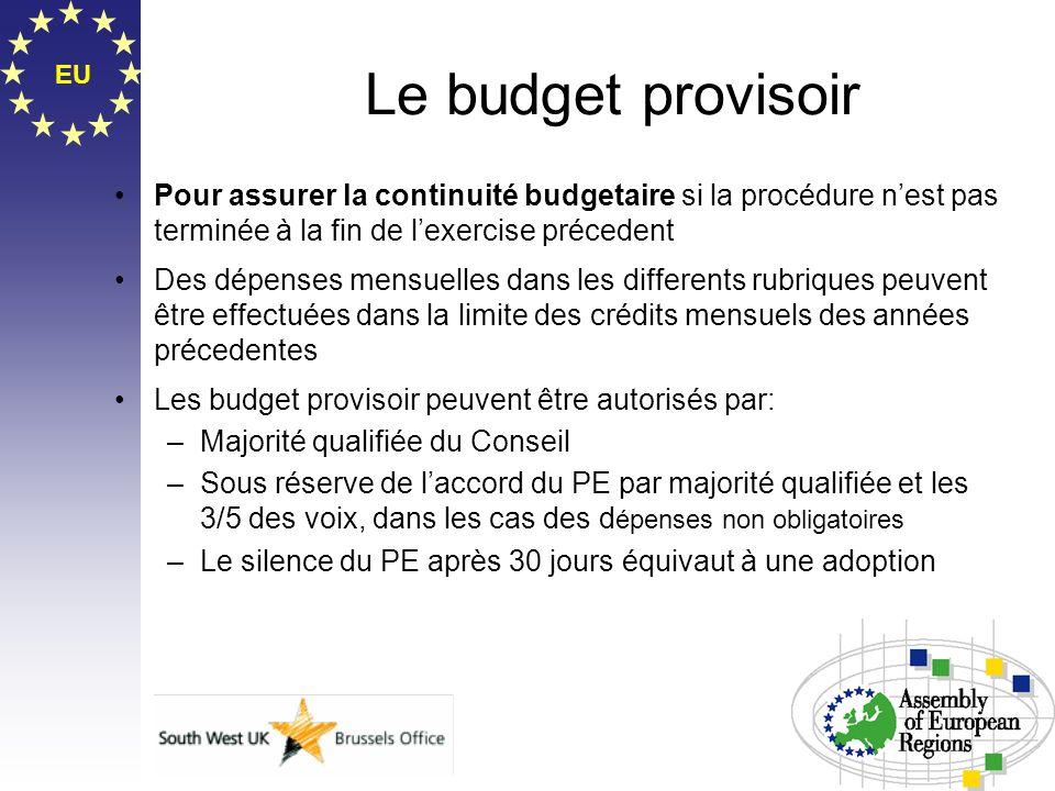 Le budget provisoirEU. Pour assurer la continuité budgetaire si la procédure n'est pas terminée à la fin de l'exercise précedent.