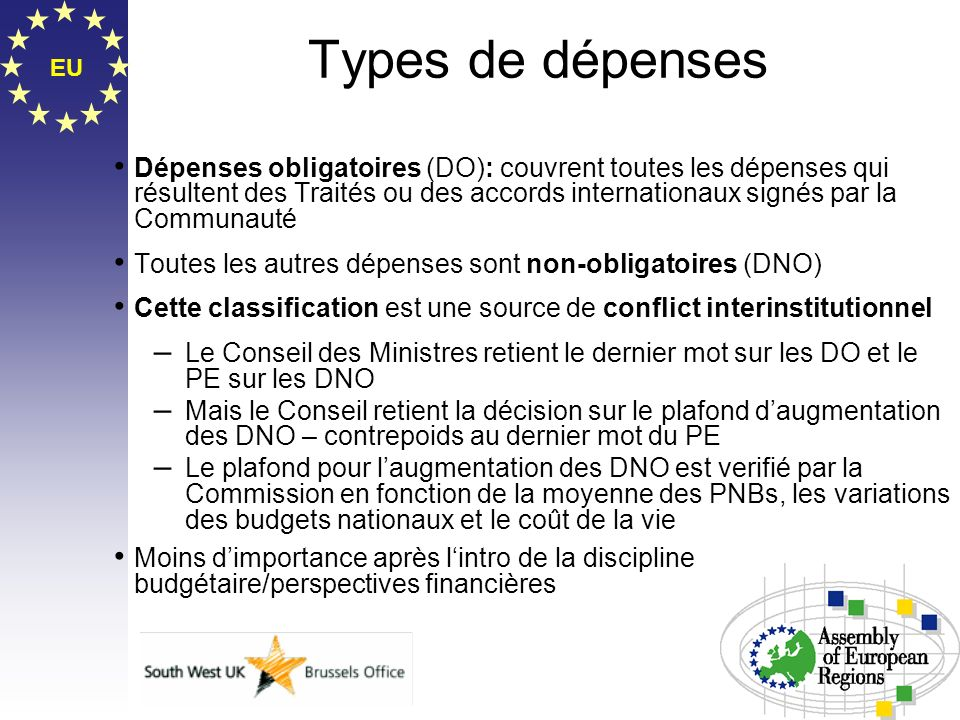 Types de dépenses EU.