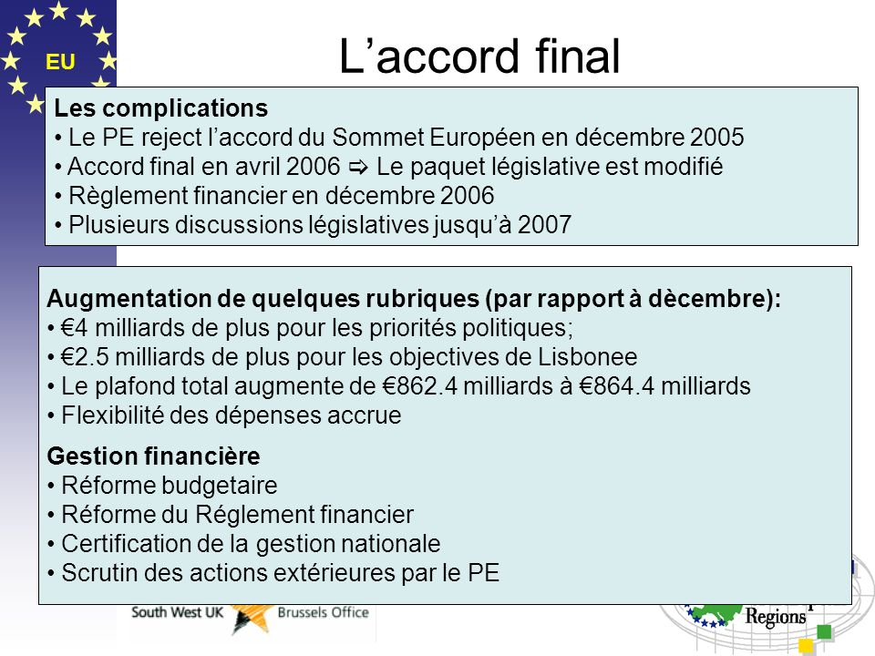 L'accord final Les complications