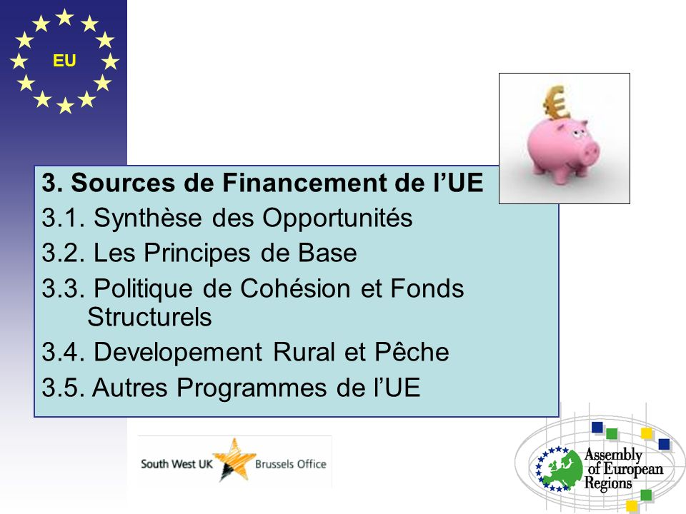 3. Sources de Financement de l'UE 3.1. Synthèse des Opportunités