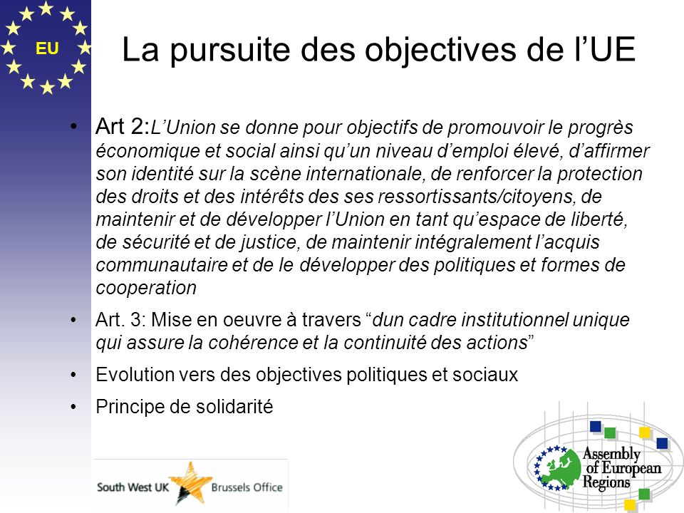 La pursuite des objectives de l'UE