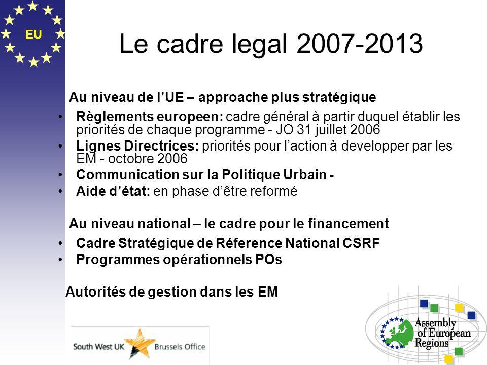 Le cadre legal 2007-2013 EU. Au niveau de l'UE – approache plus stratégique.