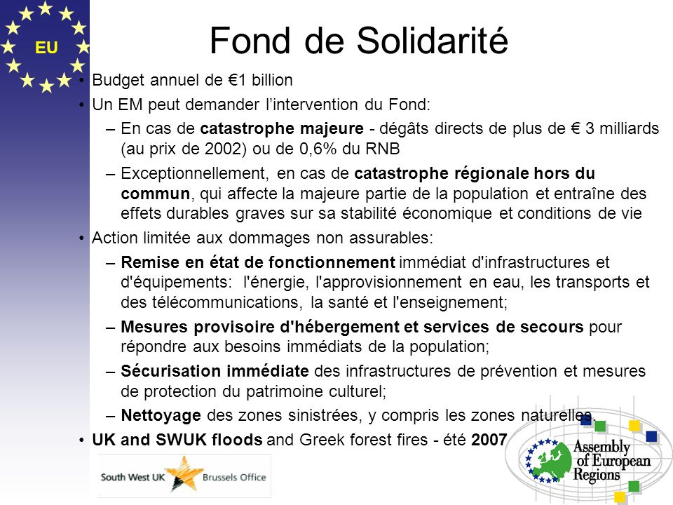 Fond de Solidarité EU Budget annuel de €1 billion
