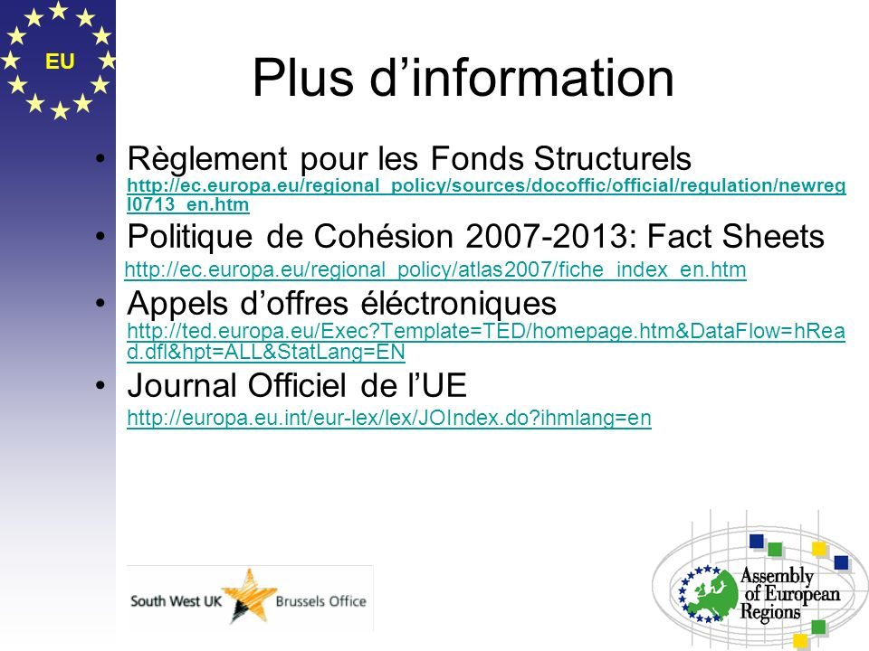 Plus d'information EU.