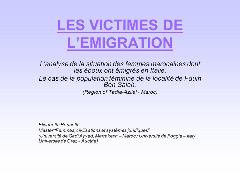 LES VICTIMES DE L'EMIGRATION