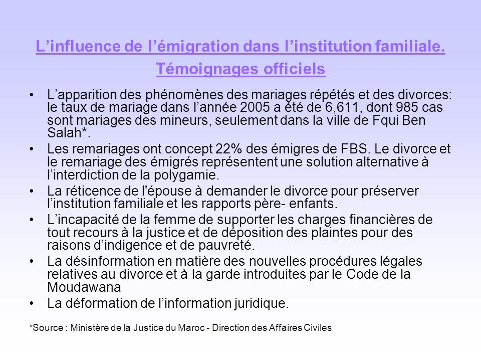 L'influence de l'émigration dans l'institution familiale