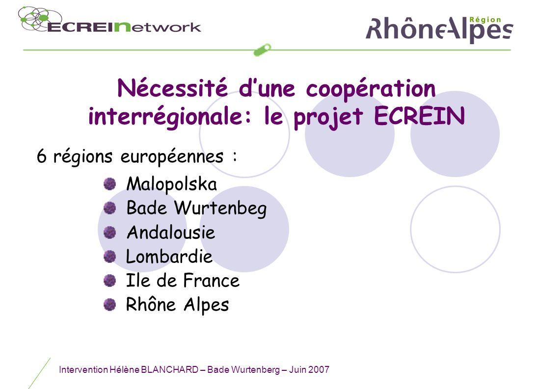 Nécessité d'une coopération interrégionale: le projet ECREIN