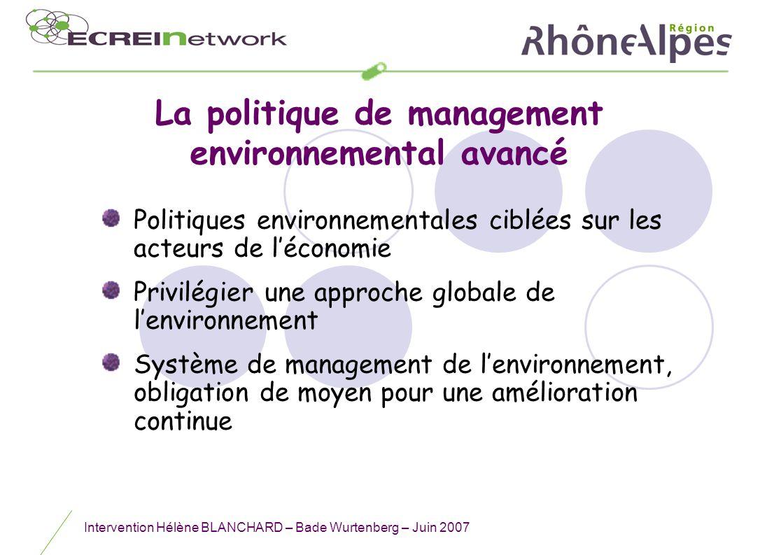 La politique de management environnemental avancé