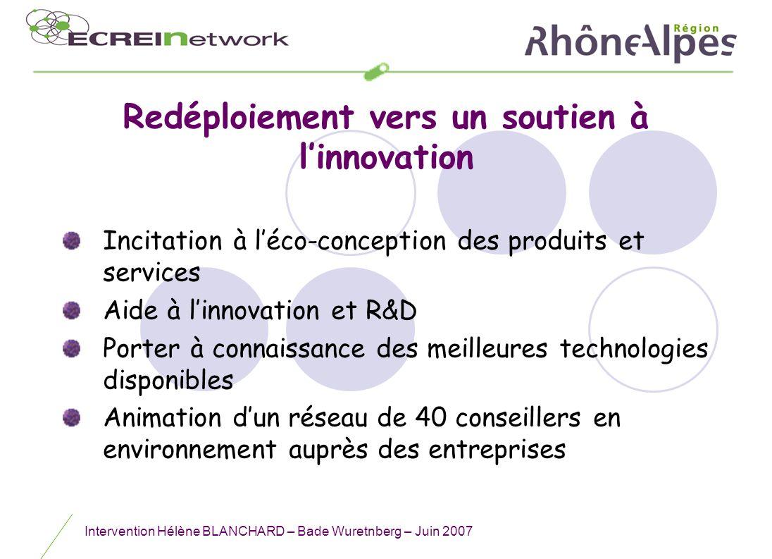 Redéploiement vers un soutien à l'innovation