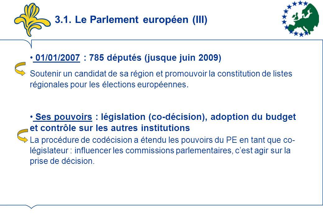 3.1. Le Parlement européen (III)